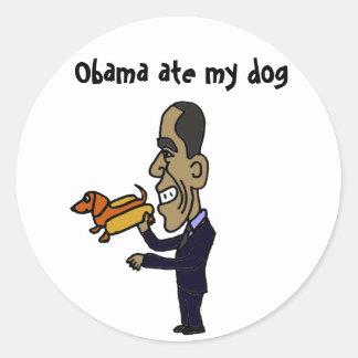 El BA Obama comió mi perro Pegatinas Redondas