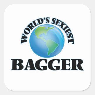 El Bagger más atractivo del mundo Calcomania Cuadrada Personalizada