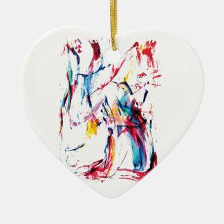 El bailarín adorno navideño de cerámica en forma de corazón