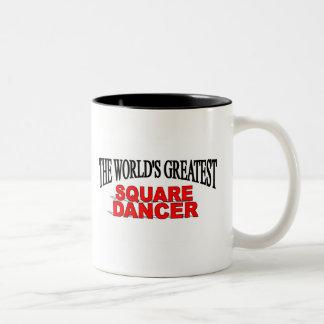 El bailarín cuadrado más grande del mundo tazas de café