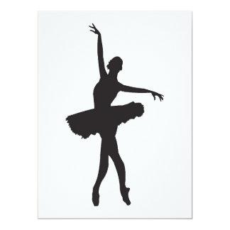 """El BAILARÍN de BALLET (silueta de la bailarina) Invitación 6.5"""" X 8.75"""""""