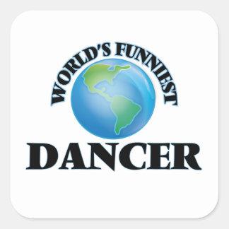 El bailarín más divertido del mundo pegatina cuadrada