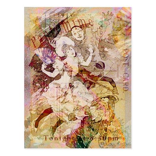 El bailarín y el navidad de Pierrot Postal