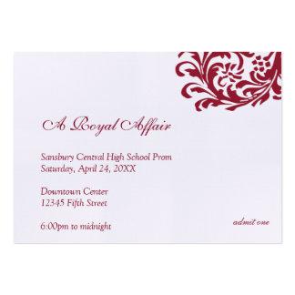 El baile de fin de curso formal rojo real hizo una tarjetas de visita grandes