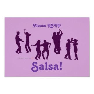 """El baile de la salsa presenta las siluetas de invitación 3.5"""" x 5"""""""