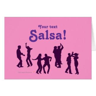 El baile de la salsa presenta las siluetas de tarjeta de felicitación