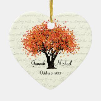 El baile florece foto del boda adorno navideño de cerámica en forma de corazón