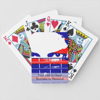 El bajista de sexo femenino observa rojo azul baraja cartas de poker