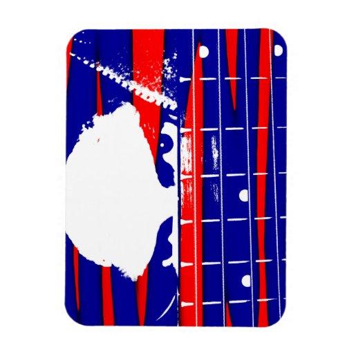 El bajista de sexo femenino observa rojo azul imanes rectangulares