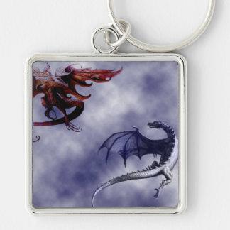 El ballet de los dragones - llavero cuadrado plateado