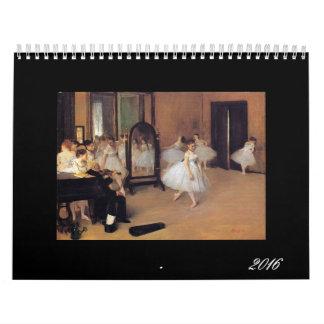 El ballet en el arte, calendario de 2016 danzas,