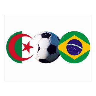 El balón de fútbol Argelia y el Brasil señala el Postal