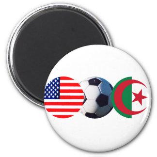 El balón de fútbol Argelia y los E.E.U.U. señala e Imanes De Nevera