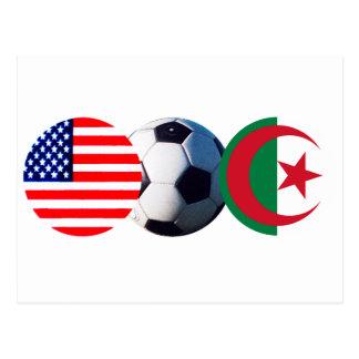 El balón de fútbol Argelia y los E.E.U.U. señala Postal