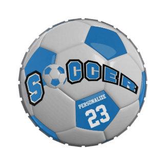 El balón de fútbol azul el | personaliza latas de caramelos