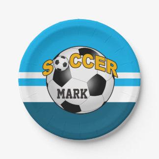 El balón de fútbol de DIY ELIGE SU COLOR DE FONDO Plato De Papel De 7 Pulgadas