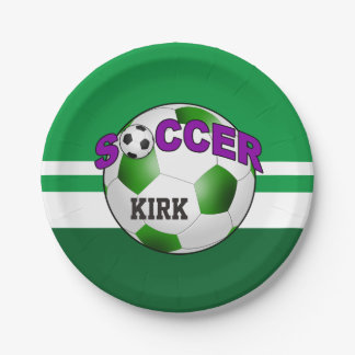 El balón de fútbol de DIY ELIGE SU COLOR DE FONDO Plato De Papel 17,78 Cm