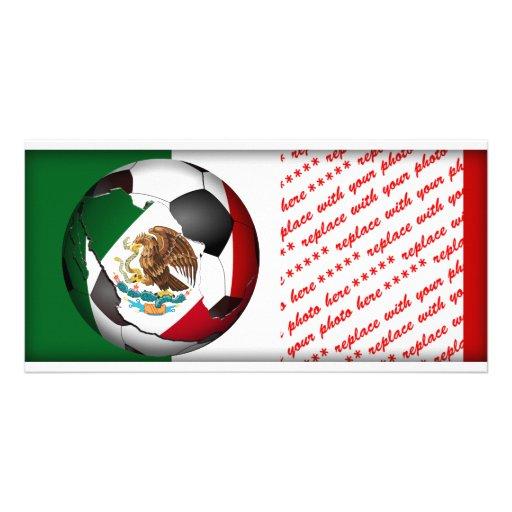 El balón de fútbol de México w/Flag colorea el Plantilla Para Tarjeta De Foto