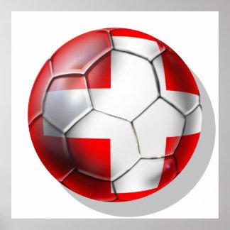 El balón de fútbol de Schweiz Suiza aviva los rega Poster