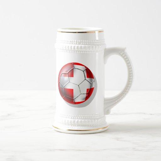 El balón de fútbol de Schweiz Suiza aviva los rega Jarra De Cerveza