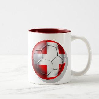 El balón de fútbol de Schweiz Suiza aviva los Taza De Dos Tonos