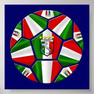 El balón de fútbol italiano moderno artesona depor poster