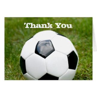 El balón de fútbol le agradece tarjeta pequeña