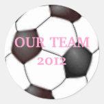 ¡El balón de fútbol lo personaliza! Etiqueta Redonda