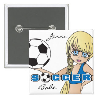 El balón de fútbol se divierte el azul del chica pin cuadrada 5 cm