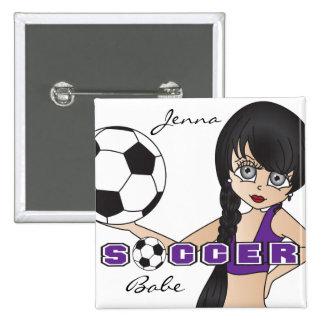 El balón de fútbol se divierte púrpura del chica pin cuadrada 5 cm
