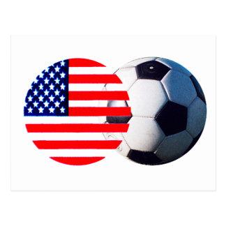 El balón de fútbol y los E.E.U.U. señalan el MUSEO Postal