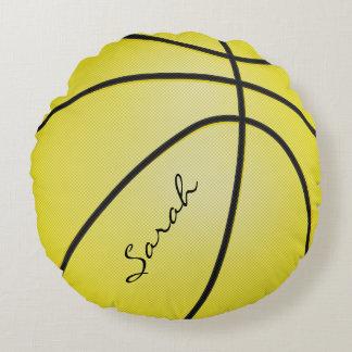 El baloncesto amarillo el | personaliza el deporte cojín redondo