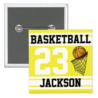 El baloncesto amarillo y el blanco raya el texto pin cuadrada 5 cm