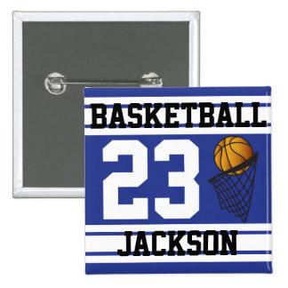 El baloncesto azul marino y el blanco raya el pin cuadrada 5 cm
