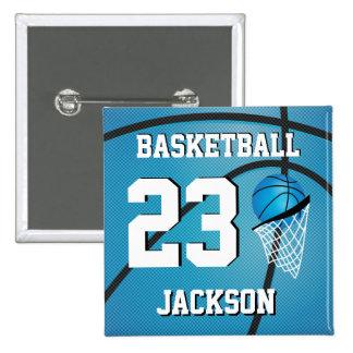 El baloncesto azul y el blanco el   personalizan pin cuadrada 5 cm