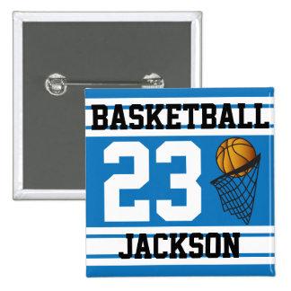 El baloncesto azul y el blanco raya el texto del   pin cuadrada 5 cm
