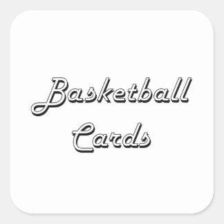 El baloncesto carda diseño retro clásico pegatina cuadrada