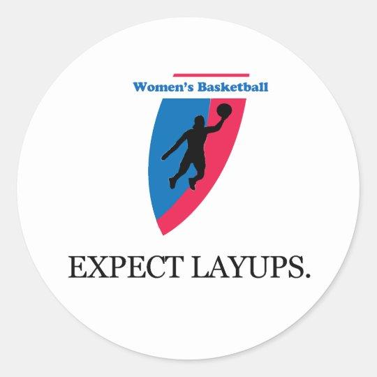 El baloncesto de las mujeres pegatina redonda