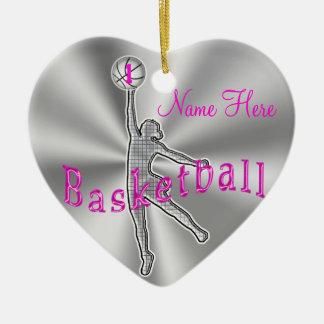 El baloncesto de los chicas adorna su NOMBRE y Adorno Navideño De Cerámica En Forma De Corazón