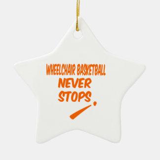 El baloncesto de silla de ruedas nunca para adorno de cerámica en forma de estrella