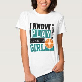 El baloncesto del juego tiene gusto de un chica playeras