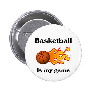 El baloncesto es mi botón del juego pin redondo de 2 pulgadas
