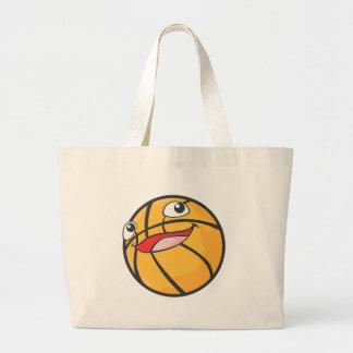 El baloncesto feliz se divierte la sonrisa de la b bolsa tela grande