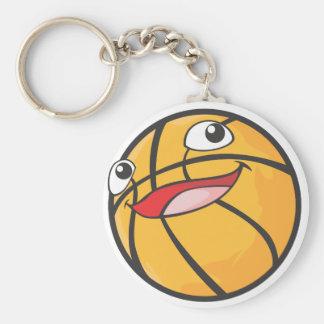 El baloncesto feliz se divierte la sonrisa de la b llavero redondo tipo pin