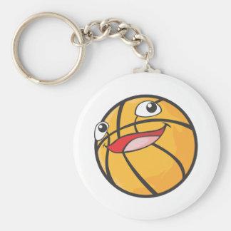 El baloncesto feliz se divierte la sonrisa de la llavero redondo tipo pin