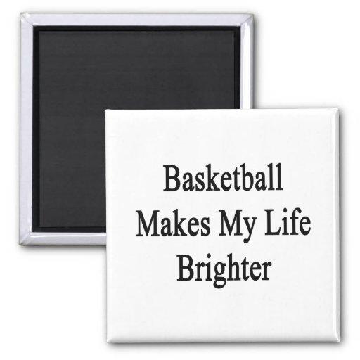 El baloncesto hace mi vida más brillante imán de frigorífico