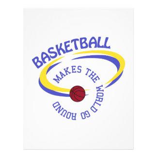 El baloncesto hace que el mundo va alrededor membrete personalizado