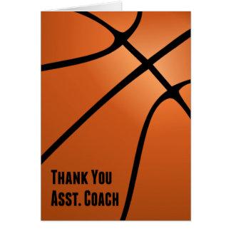 El baloncesto le agradece ayudante del entrenador, tarjeta pequeña