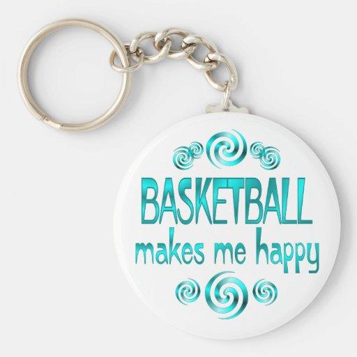 El baloncesto me hace feliz llavero personalizado