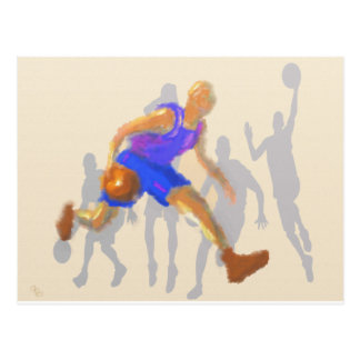 El baloncesto mueve arte tarjeta postal